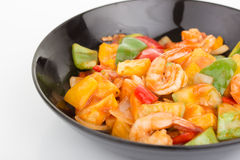 Sauted mixed vegetables and shrimp with tomato sauce Royalty Free Stock Photos
