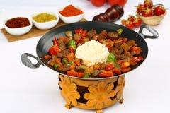 Sautee e arroz Roasted da carne do cordeiro fotografia de stock royalty free