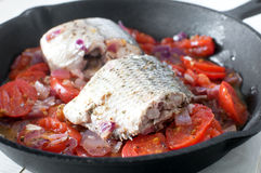 Sauteed bass pieces with tomatoes and onion Stock Photography