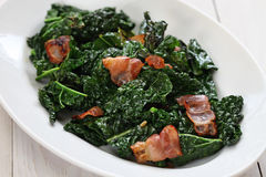 Sauteed Black Kale And Bacon Stock Images
