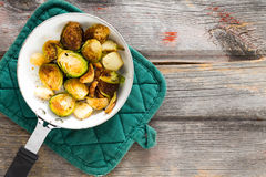 Sauteed brussels sprouts in a saucepan Royalty Free Stock Photo