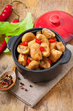 Sauteed chicken with mushrooms Stock Images