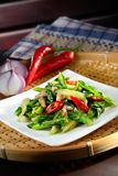 Sauteed Chinese Kale with Red Chili Royalty Free Stock Photography
