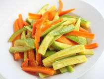Sauteed courgette and carrot Royalty Free Stock Image