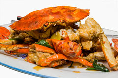 Sauteed crab. Whole cracked crab served with delicious sauce royalty free stock photos