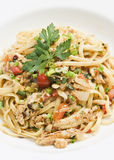 Sauteed crabmeat linguine Royalty Free Stock Photo