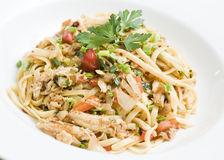 Sauteed crabmeat linguine Royalty Free Stock Image