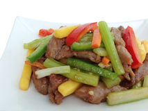 Sauteed fillet of beef with mango Royalty Free Stock Image