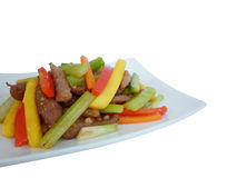 Sauteed fillet of beef with mango Stock Images