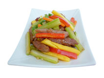 Sauteed fillet of beef with mango Royalty Free Stock Photo