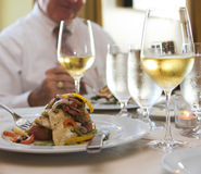 Sauteed flounder and wine Stock Photography