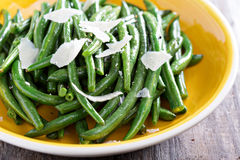 Sauteed green beans on big plate Royalty Free Stock Image