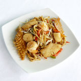 Sauteed japanese noodles combination in black pepper sauce Royalty Free Stock Photo