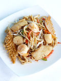 Sauteed japanese noodles combination in black pepper sauce Royalty Free Stock Image