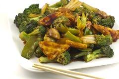 Sauteed mengde Chinese Groenten met Tofu stock foto's