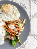 Sauteed mixed vegetables n oyster sauce with rice and fried egg on white plate. Thai food. Royalty Free Stock Photo