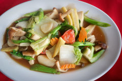 Sauteed mixed vegetables in oyster sauce Stock Photography