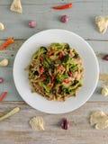 Sauteed mushrooms mixed with broccoli stock photo