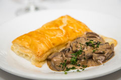 Sauteed Mushrooms with Puff Pastry. A gourmet appetizer of mushrooms and puff pastry on a white plate royalty free stock photo