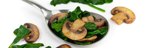 Sauteed Mushrooms and Spinach Royalty Free Stock Photo