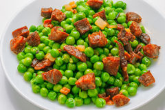 Sauteed pea dish Royalty Free Stock Photo
