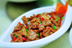 Sauteed Pig's INtestines. A Chinese homely dishes, Sauteed Pig's INtestines Royalty Free Stock Photos