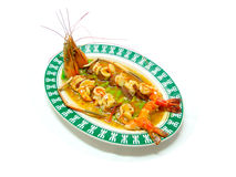 Sauteed river prawn in spicy sauce Stock Image