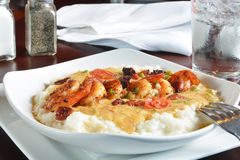 Sauteed shrimp and grits Royalty Free Stock Photography