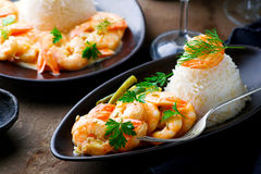 Sauteed Shrimp in White Wine. Selective focus Stock Photography