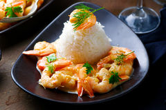 Sauteed Shrimp in White Wine Royalty Free Stock Images