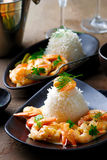 Sauteed Shrimp in White Wine. Selective focus Stock Image