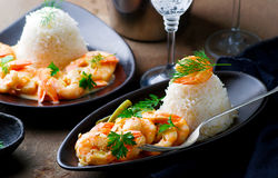 Sauteed Shrimp in White Wine. Selective focus Stock Images