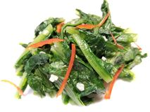Garlic Spinach with Chili Peppers royalty free stock images