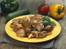 Sauteed turkey with peppers Royalty Free Stock Image