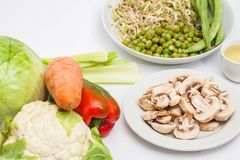 Raw ingredients to prepare sauteed vegetables Royalty Free Stock Photos