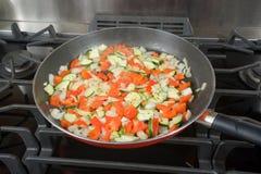 Sauteed veggies for pizza Stock Photos