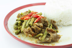 Sauteed yard long bean chilli and steamed rice Stock Photography