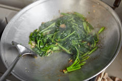 Sauteing Japanese spinach Royalty Free Stock Image