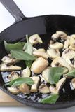 Sauteing mushrooms with sage Stock Photography