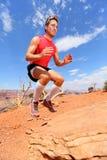Sauter accroupi de saut de banc d'athlète de forme physique en nature Images libres de droits