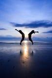 Sauter du bonheur Photos libres de droits