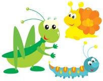 Sauterelle, escargot et tracteur à chenilles Photo libre de droits