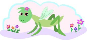 Sauterelle et fleurs illustration libre de droits