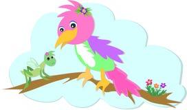 Sauterelle et perroquet illustration stock
