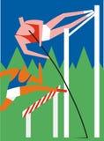 Sauteur de Pôle et participant à une course d'obstacles Photo stock