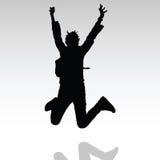 Sautez en silhouette de personnes de vecteur d'air Photographie stock libre de droits