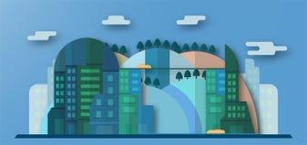 Sautez la conception des bâtiments urbains et de la future ville avec le ciel bleu a illustration de vecteur