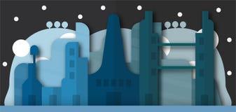 Sautez la conception des bâtiments urbains et de la future ville la nuit Vecto illustration de vecteur