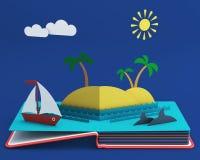 Sautez le livre avec l'île tropicale dans l'océan Photo libre de droits