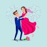 Sautez le mariage des couples heureux d'isolement sur des confettis de fond de coeur Homme attirant et femme étant espiègles Vect Photographie stock libre de droits